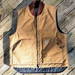 Carhartt Canvas Quilted Lined Work Vest Tan Large